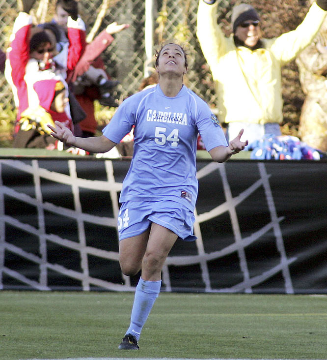 Mia Hamm, Kristine Lilly, April Heinrichs -- add Casey Nogueira's name to the long list of Tarheel legends. The junior forward scored two goals in the second half of the final to give UNC a 2-1 victory over Notre Dame, handing college soccer's most prolific program an unparalleled 19th title. As a freshman, Nogueira won her team the 2006 final as well, bagging a goal and an assist.