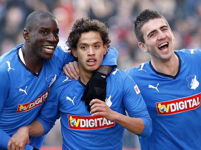If you had bet money at the beginning of the season that newly promoted Hoffenheim would be leading the Bundesliga by the winter break, fans would have called you crazy. But thanks to the big software bucks of billionaire owner Dietmar Hopp, the German upstarts have shocked everyone thanks to a incendiary cast of big-game performers such as (from left) Demba Ba, Carlos Eduardo and St. Louis University alum Vedad Ibisevic.
