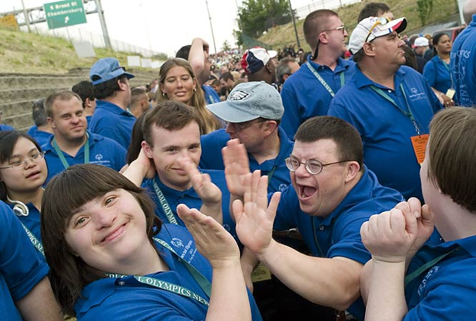 The mood was light outside Sovereign Bank Arena in Trenton as competitors waited for the parade of athletes to begin at the opening ceremonies. More than 2,000 athletes participated in the New Jeresy Games.