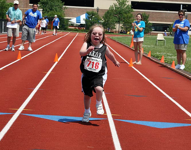 Sara Rosati, 9, sprinted to a gold medal in the 25-meter dash at the College of New Jersey, which has hosted the Summer Games for the last 19 years.