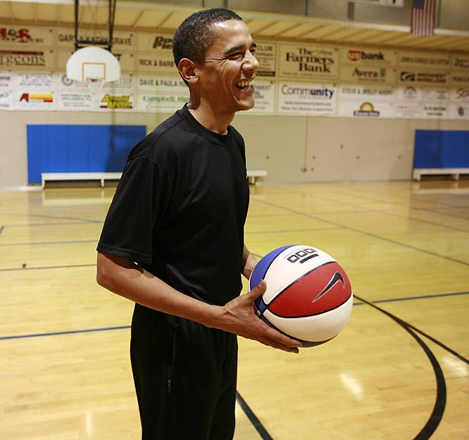 The things a man must do to become president: Dec. 17, 7:43 a.m.: Barack Obama arrives at a Spencer, Iowa, YMCA for a one-on-one basketball game against SI senior writer S.L. Price. Obama notes the red-white and blue ball's resemblance to his campaign logo, the only time he makes mention of the looming Iowa caucuses.