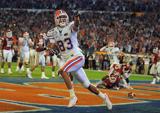David Nelson's TD catch with 3:07 left clinched the Gators' win over the Sooners. Nelson (2 catches for 33 yards) was one of seven Florida players to catch a pass.