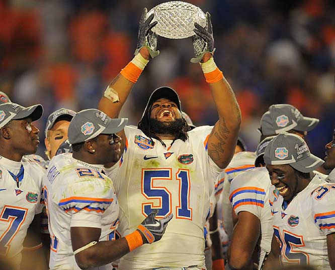 Linebacker Brandon Spikes -- the leader of Florida's defense -- takes in the moment after the Gators shut down the highest scoring offense in NCAA history.