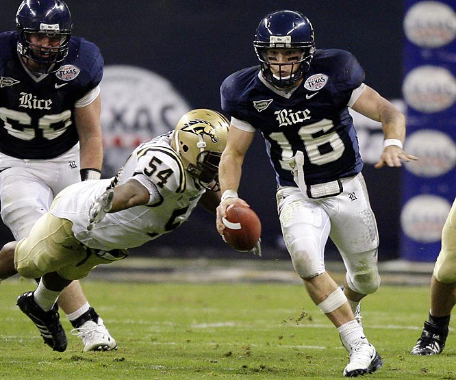 Rice won a bowl game for the first time since the 1954 Cotton Bowl and reached 10 wins for the first time since 1949. Owls QB Chase Clement threw three touchdown passes, ran for a score and caught a TD pass from WR Jarett Dillard.
