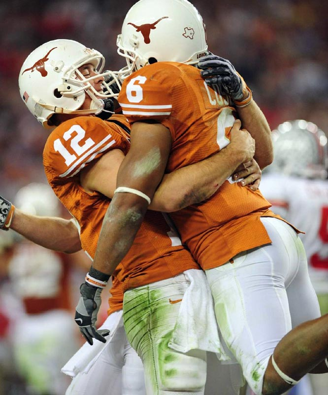 The Buckeyes had their hearts broken again, while Texas made its closing argument on a 12-1 season. Ohio State scored 15 straight fourth-quarter points to take a 21-17 lead with just over two minutes remaining. But Colt McCoy led the Longhorns on an 11-play, 78-yard touchdown drive, culminating in a 26-yard touchdown pass to Quan Cosby. The loss dropped the Big Ten to 1-6 in bowl season.