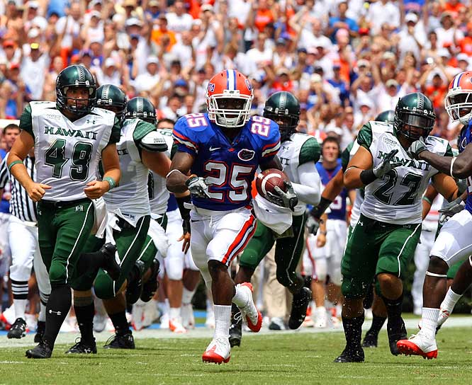 The Gators kicked off the '08 campaign with a 46-point throttling of Hawaii in The Swamp. Neither team scored in the first quarter, but Florida posted back-to-back 28-point quarters in the second and the third to start the season off right.
