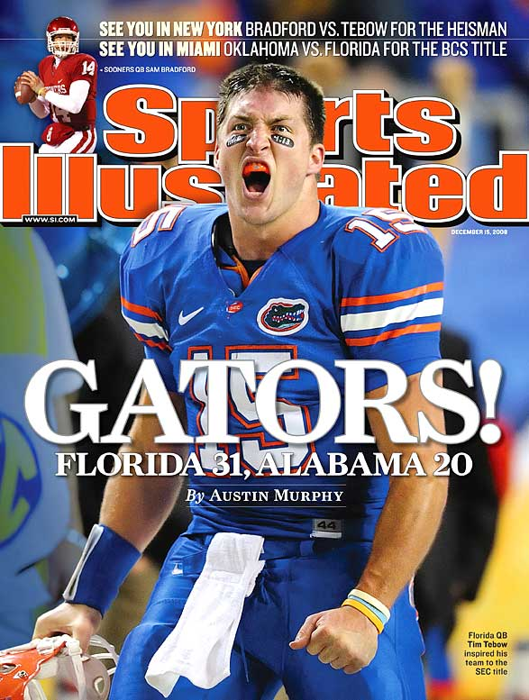 "In quite possibly the most highly anticipated SEC title game ever -- seeing as the contest featured the nation's top two teams and served as a de facto BCS title semifinal -- the Gators won by following their Heisman Trophy quarterback. Florida trailed 20-17 entering the fourth quarter, but Tebow -- who finished with three passing touchdowns -- simply willed his team to victory by directing a pair of fourth-quarter scoring drives. ""I've had some great players, and I've got some great players on this team,"" Urban Meyer said, ""but I've never had one like this."""