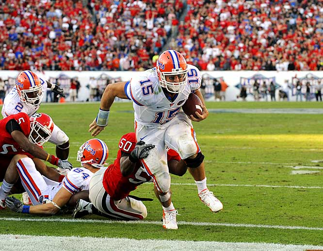 The Gators avenged last year's 42-30 loss with a 39-point shellacking of the rival Bulldogs. Tim Tebow accounted for five touchdowns, Percy Harvin scored twice and the Gators scored 42 unanswered points.