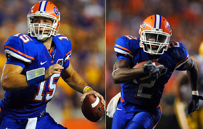 Florida handed the defending national champions their first loss of the season with a balanced offensive assault. Tim Tebow threw a pair of touchdown passes and ran for an additional score, while Jeff Demps piled up 129 yards rushing and a touchdown on just 10 carries.