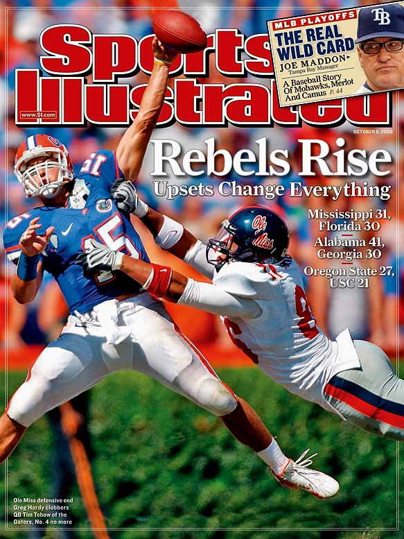 """The Gators held a 10-point lead at the half, but failed to put Houston Nutt's squad away in the final 30 minutes. Tim Tebow fumbled the ball away in the third quarter and was stuffed on a do-or-die fourth-and-one at the Ole Miss 32 with 40 seconds remaining. After the game, Tebow apologized to Florida fans and said, """"You have never seen any player in the entire country play as hard as I will play the rest of this season."""""""
