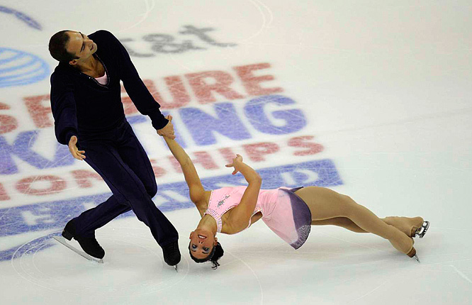 Tiffany Vise and Derek Trent, performing here during the short program, finished eighth.