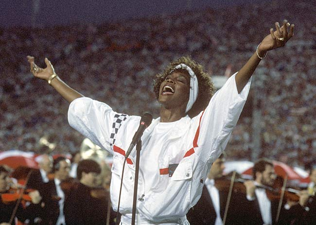 The Giants beat the Bills, 20-19, to claim their second championship in four years. The game, however, may be best remembered for Whitney Houston's stirring rendition of the Star Spangled Banner.