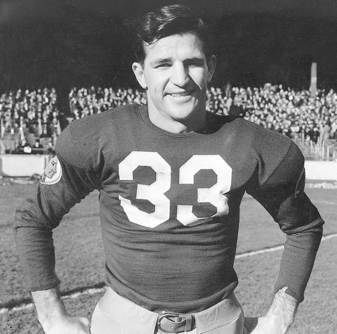 The first members to the NFL's Hall of Fame are named in Canton, Ohio. The list included Sammy Baugh (pictured), Johnny Blood, Dutch Clark, Red Grange, Mel Hein, Pete Henry, Cal Hubbard, Don Hutson, Bronko Nagurski, Ernie Nevers, Jim Thorpe, Bert Bell, Joe Carr, George Halas, Curly Lambeau, Tim Mara and George Preston Marshall.