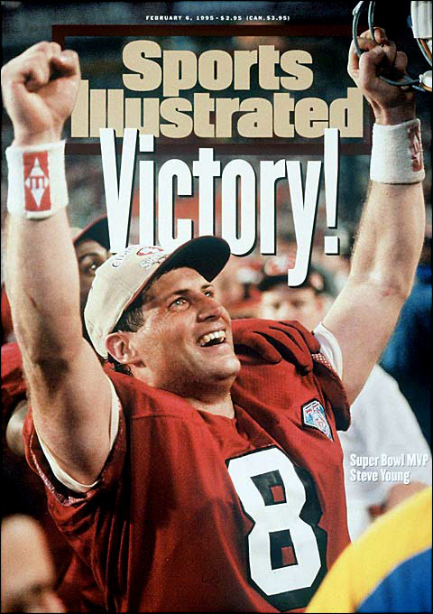 San Francisco defeats San Diego 49-26 in Super Bowl XXIX. Steve Young passes for a record six touchdowns as the 49ers become the first team to win five Super Bowls.