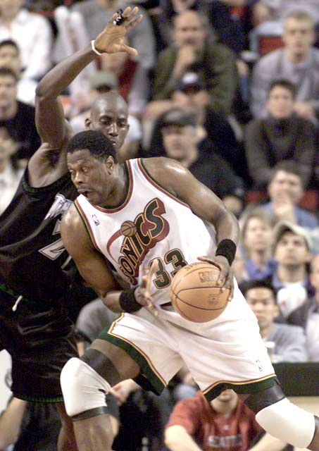 Seattle's Patrick Ewing scores his 24,000th career point, becoming the 13th player in NBA history to reach that total.