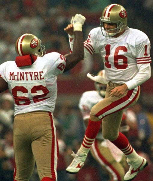 San Francisco's Joe Montana sets an NFL record by throwing his 30th and 31st postseason touchdown passes. Terry Bradshaw held the previous record of 30.