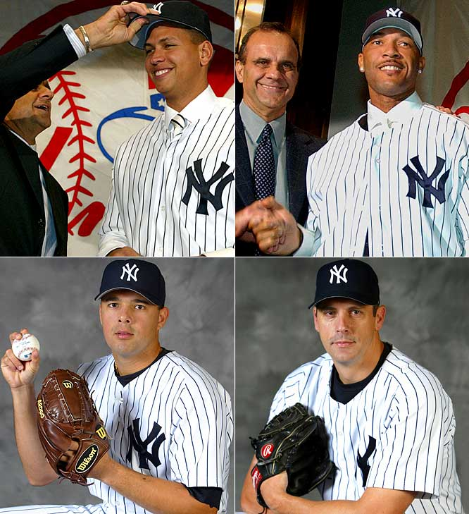 For 2004: <br>In an orgy of extravagance, A-Rod and the $179 million left on his record $252 million, 10-year deal (Texas will pay $67 million of it, the most cash in a trade in big league history) arrive for Alfonso Soriano and a player to be named. Kevin Brown and his $15 million contract is brought in from L.A. for Jeff Weaver, two prospects and $3 million. Slugger Gary Sheffield is signed for three years at $36 million. Pitcher Javier Vazquez is acquired from Montreal for Nick Johnson, Juan Rivera and Randy Choate. Starter Jon Lieber (two years, $4 million), reliever Tom Gordon (two years, $7.25 million) and outfield Kenny Lofton (one year, $6 million) round out the bonanza.