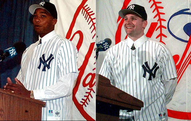 "For 1998: <br>All-Star second baseman Chuck Knoblauch arrives from Minnesota in a trade for pitching prospect Eric Milton, minors Danny Mota, Brian Buchanan and Cristian Guzman, and $3 million. Pitcher Orlando ""El Duque"" Hernandez, a Cuban defector, is brought aboard with a four-year deal worth $6.6 million."