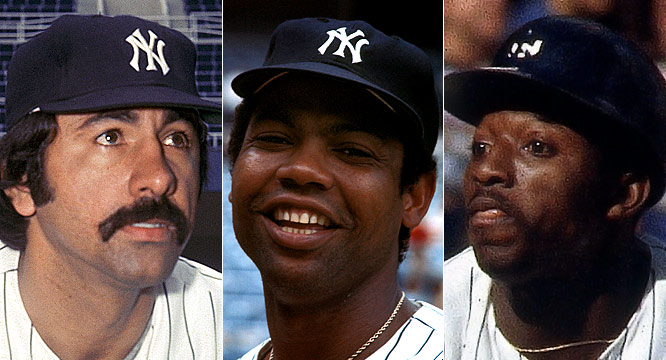 "For 1976: <br>Key components of the Yankees' return to glory arrive via trades with the Angels (beloved speedy centerfielder Mickey ""the Great Gozzlehead"" Rivers and starting pitcher Ed Figueroa) and Pirates (starter Dock Ellis and second base mainstay Willie Randolph)."