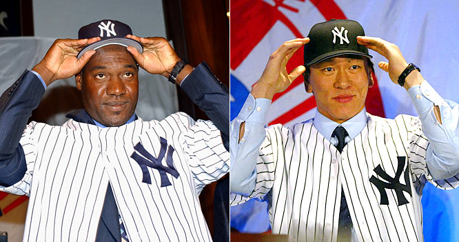 "For 2003: <br>The Yankees are famously deemed ""the Evil Empire"" by Red Sox president Larry Lucchino as they sign coveted Cuban hurler Jose Contreras for four years at $32 million and add insult to injury by adding Japanese superstar slugger Hideki ""Godzilla"" Matsui for three years at $21 million."