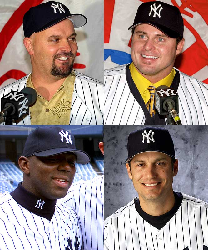 For 2002: <br>Rotund hurler David Wells returns for his second stint in the Bronx, at three years for $13.5 million, but the bigger prize is slugger Jason Giambi, lured from Oakland with a seven-year deal worth $120 million. Lesser additions include outfielder Rondell White (two years, $10 million) and third baseman Robin Ventura (one year, $5 million).