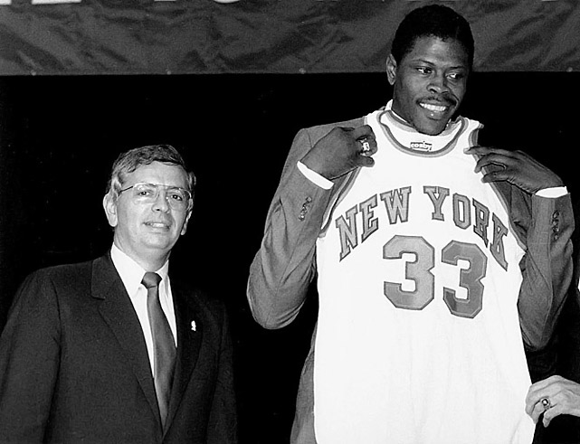 Stern got unwelcome attention in 1985 when, in the NBA's first draft lottery, he reached into the basketball-shaped plastic hopper and pulled out the envelope awarding the No. 1 pick, and Georgetown center Patrick Ewing, to the Knicks. Conspiracy buffs, convinced that the league wanted to revive a struggling anchor franchise in New York, claimed that Stern was tipped off by a dog-eared corner of the Knicks' envelope. Either that, they allege, or it was kept in a freezer to alert him by touch.