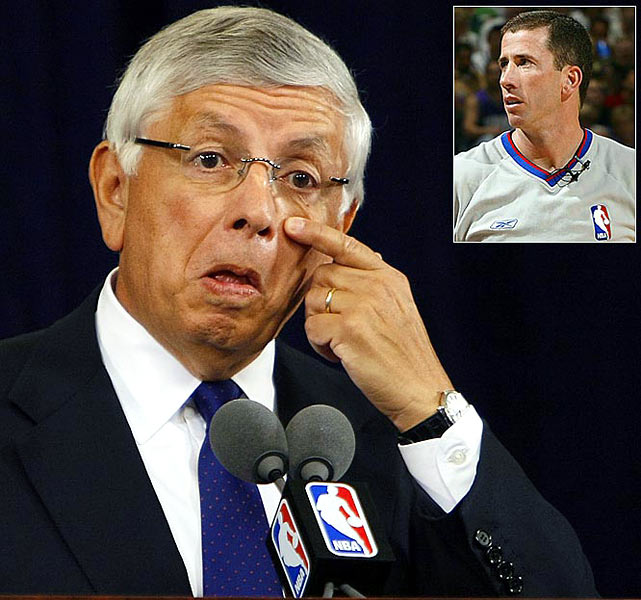 A dour Stern addressed reporters on July 24, 2007, about referee Tim Donaghy's illegal betting on NBA games, including some he worked over the previous two seasons. The commissioner characterized Donaghy, the target of an FBI investigation, as a ''rogue, isolated criminal'' but admitted that the revelations rocked his world. ''I feel betrayed by what happened on behalf of the sport, regardless of how protective I've been,'' Stern said. ''This is not something that is anything other than an act of betrayal of what we know in sports as a sacred trust.'' Donaghy would be sentenced to 15 months for the gambling scandal.