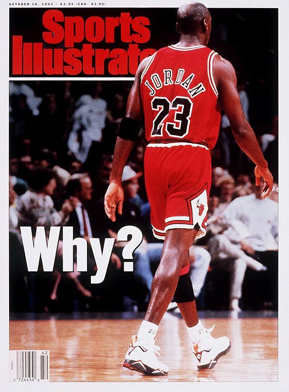 Jordan announced the first of his three retirements as a player in October 1993, surprising the sports world and fanning another Stern conspiracy. The NBA had begun an investigation in June into reports of Jordan's gambling activities but shut it down soon after Jordan's announcement. Skeptics suspected the Bulls' superstar and Stern reached an agreement allowing Jordan to step away or seek help away from the public eye. They built their case on Jordan's cryptic comment about a possible comeback (''... if David Stern lets me back in the league ...''). Jordan returned not once but twice on Stern's watch.