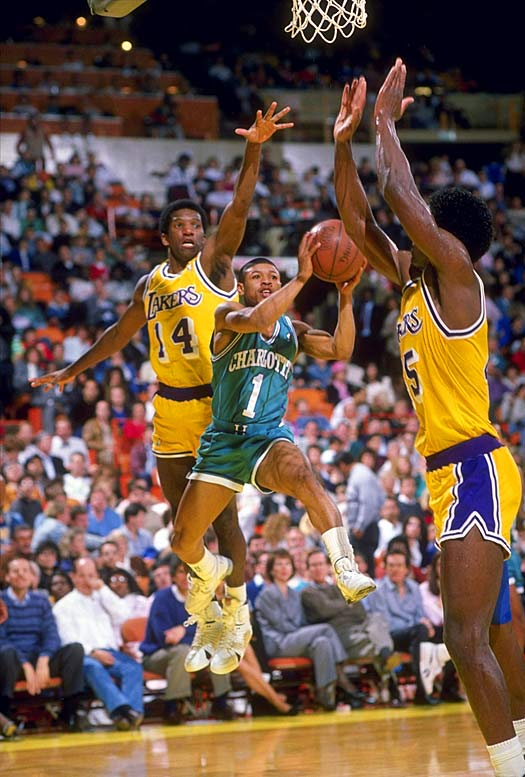 On April 22, 1987, the NBA announced four expansion franchises, with Charlotte and Miami beginning play in 1988-89 and Minnesota and Orlando debuting the following season. (Muggsy Bogues, pictured, was one of the Hornets' top picks in the expansion draft.) The league grew by seven teams on Stern's watch, with Toronto and Vancouver joining in 1995 and a replacement Charlotte club added for 2004-05.