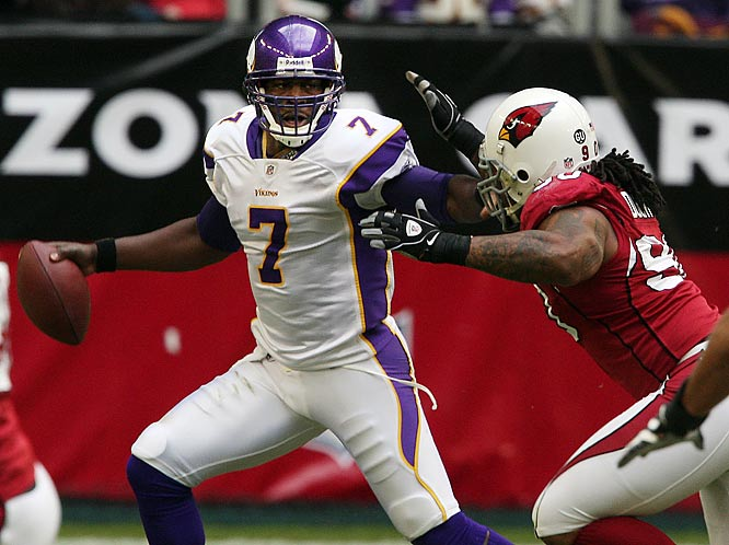 Tarvaris Jackson threw four touchdown passes and Adrian Peterson rushed for 165 yards as the Vikings upended the Cardinals 35-14. Meanwhile, Arizona picked up fewer than 100 yards rushing for the sixth consecutive game.