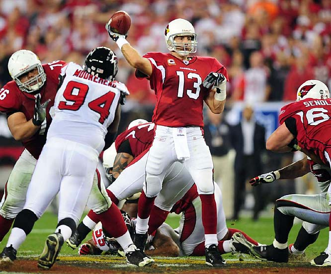 Warner threw touchdown passes of 71 and 42 yards as the Cardinals used three Atlanta turnovers (including two Matt Ryan interceptions) to seal a 30-24 win over the Falcons. Arizona's defense came up big all day, holding Michael Turner to just 42 yards on 18 carries.