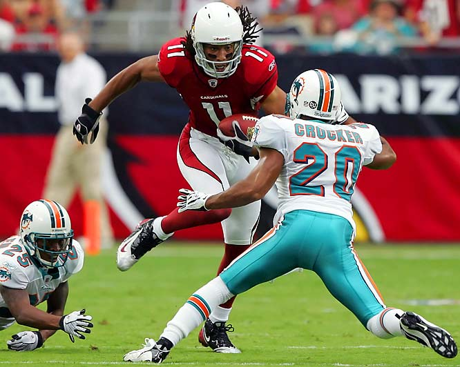 Warner completed pass after pass in a flashback to his MVP days as the Cardinals beat the Dolphins 31-10. Warner completed passes of 79 and 75 yards, throwing for 361 yards and three scores. Larry Fitzgerald (pictured) and Anquan Boldin combined for 293 receiving yards and hauled in all three touchdown passes.