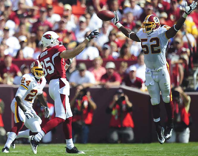 Stingy with turnovers in their first two games, the Cardinals couldn't recover from a lost fumble and a late interception in their 24-17 loss at Washington. Warner threw two touchdowns; Fitzgerald picked up 109 yards receiving.