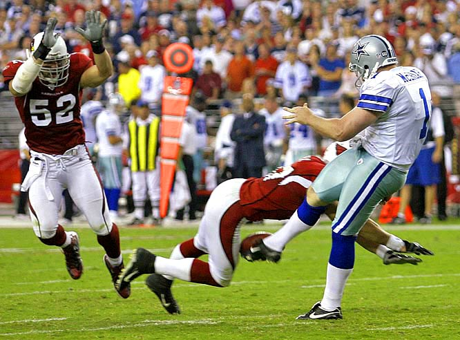 J.J. Arrington got the Cardinals off to a quick start against the Cowboys, returning the opening kick 93 yards for a touchdown, but the finish was even more dramatic. After Dallas forced overtime, Arizona's Sean Morey blocked Mat Briar's punt, and Monty Beisel picked up the ball for the game-winning score in the 30-24 triumph. It was the first time in NFL history that a blocked punt for a touchdown ended an overtime game.