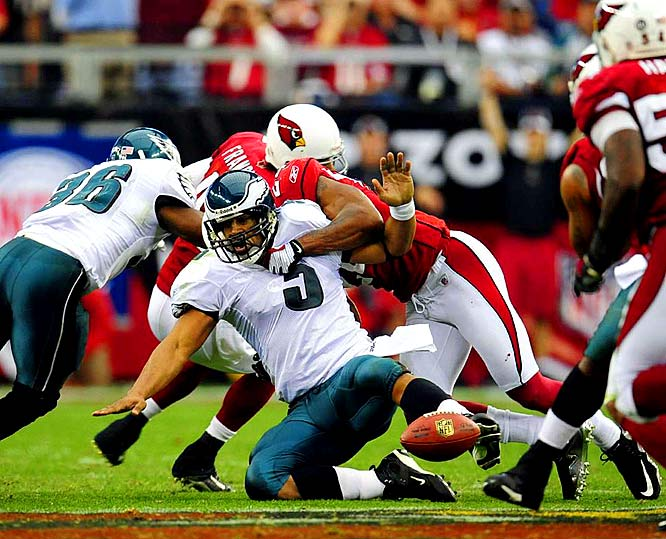 Donovan McNabb fumbles the ball as he is sacked by Cardinals' safety Adrian Wilson in the third quarter.