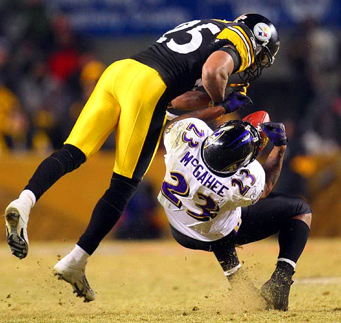 Steelers' safety Ryan Clark forces a fumble by Willis McGahee late in the game. McGahee suffered a neck injury from a non-penalized blow to his head and shoulder area by Clark. The Ravens' running back was carted off the field and taken to a local hospital.  The impact also temporarily stunned Clark, who needed assistance leaving the field.