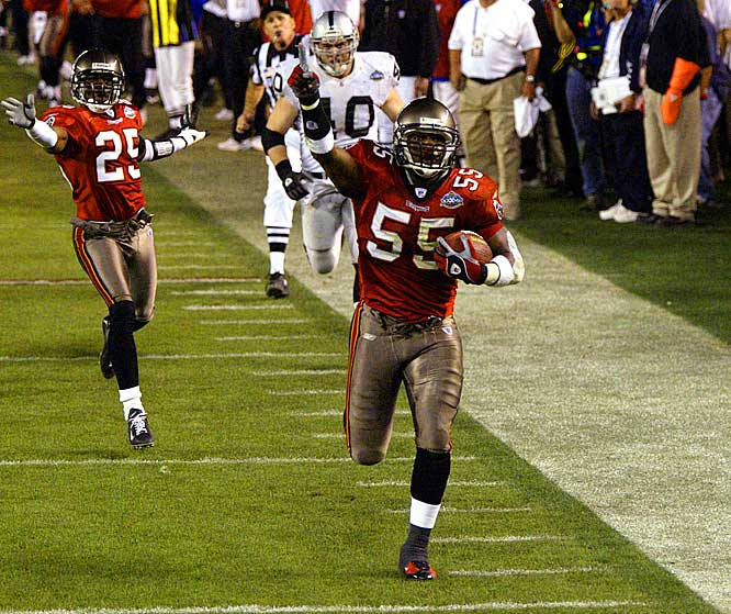In leading Tampa to Super Bowl XXXVII, Brooks recorded 117 tackles and five interceptions -- three of which he returned for touchdowns. He also returned a fumble for a score, for an NFL-record four defensive touchdowns by an outside linebacker. For good measure, Brooks added another interception return for a touchdown in the Super Bowl.