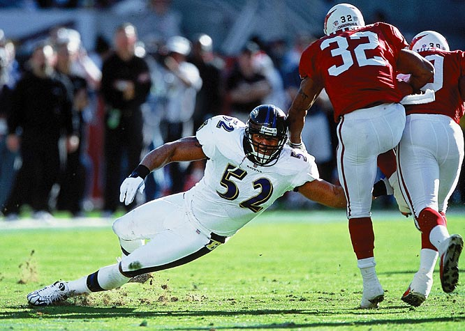 Lewis led a defense that set a regular season record for fewest points allowed (165) and fewest rushing yards allowed (970), and recorded four shutouts -- one off the record. The linebacker led the Ravens with 187 tackles, won Super Bowl XXXV MVP honors, earned a unanimous All-Pro selection and was named a Pro Bowl starter.