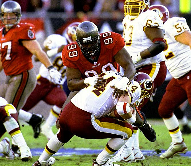 Before moving to the broadcasting booth and Dancing with the Stars, Warren Sapp was one of the top defensive tackles in the NFL. The 300 pound lineman won the defensive player of the year award in 1999, anchoring a stingy Bucs defense with 12.5 sacks.