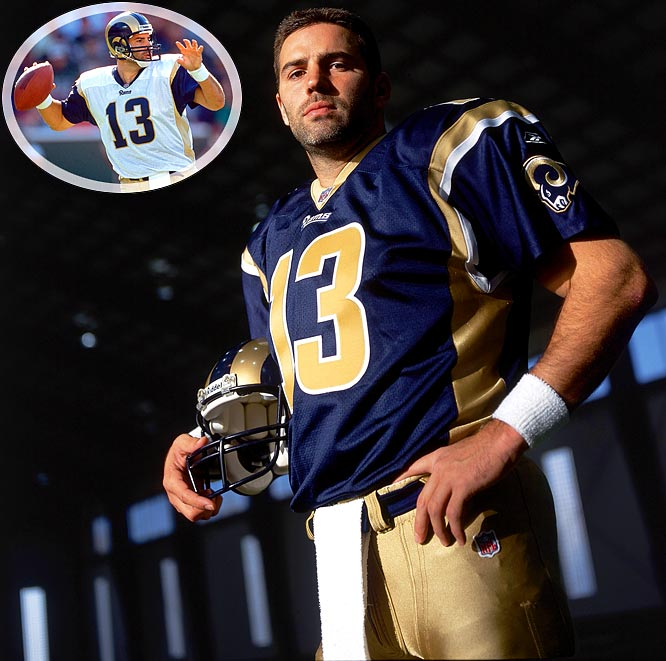 Warner earned his second league MVP in 2001, when he threw a league-high 36 touchdown passes and racked up 4,830 passing yards -- second only to Dan Marino at the time. Warner again led the Rams to the Super Bowl, where they lost to an upstart Patriots team.