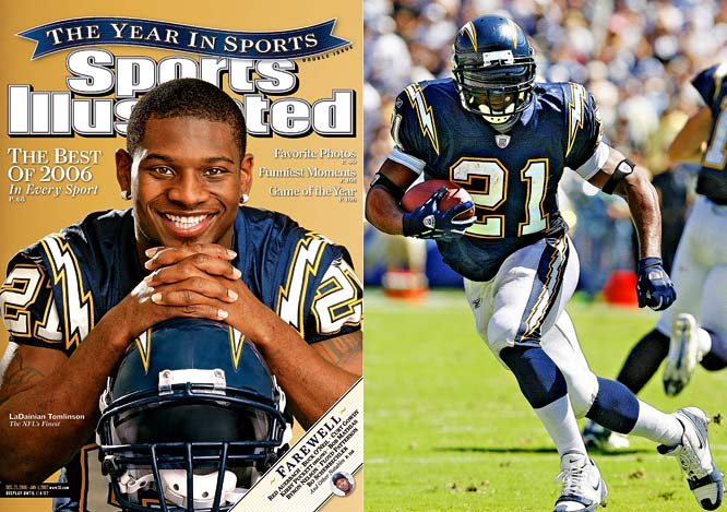 Touchdown records continued to fall in 2006 when LaDainian Tomlinson reached the end zone one more time than Shaun Alexander did the year before, notching 28 rushing touchdowns. Not only did LT rush for 1,815 yards, but he also caught 56 passes for 508 yards and three touchdowns for the 14-2 Chargers.