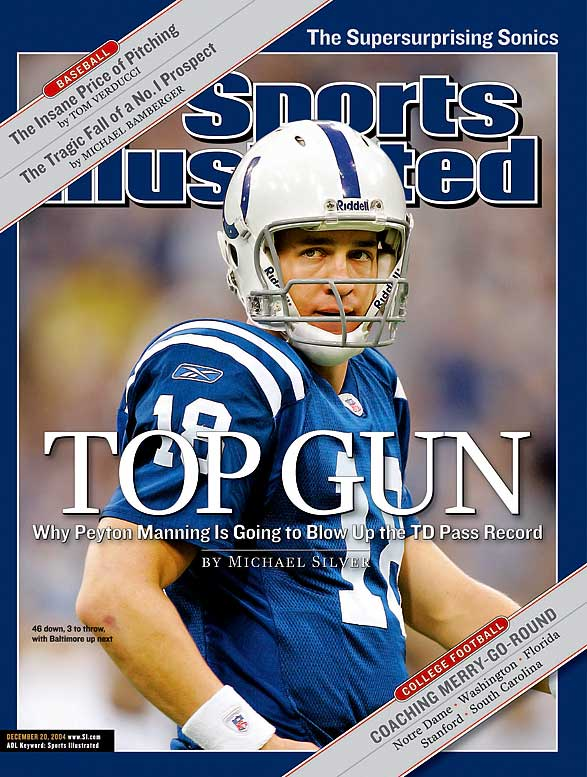 In leading the Colts to their second straight 12-4 record and AFC Championship game, Manning threw for 4,557 yards, and set records for quarterback rating (121.1) and touchdowns (49) - which has since been broken by Tom Brady. It was the first time a player won back-to-back MVP awards since Brett Favre won three straight from 1995-97.