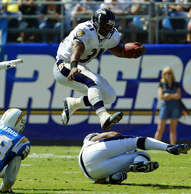 Lewis fell 39 yards short of Eric Dickerson and the NFL's all-time single-season rushing record in 2003, finishing with 2,066 yards. That made him one of just five running backs in league history to rush for 2,000 yards in a season. He scored 14 touchdowns for the Ravens.