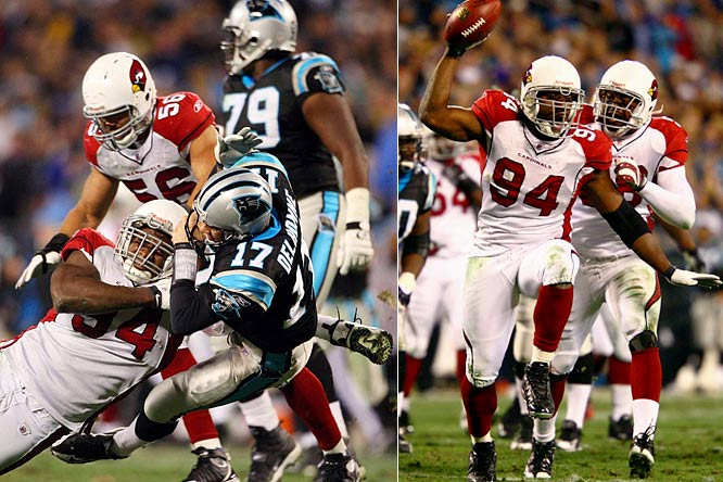 Defensive end Antonio Smith's sack and subsequent fumble recovery at the Carolina 13 in the first quarter of Saturday's game helped jump-start the Cardinals' defensive domination against Carolina.