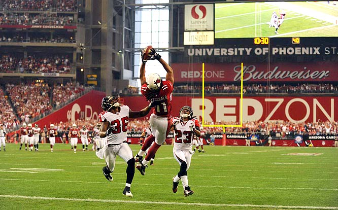 Larry Fitzgerald caught six passes for 101 yards, including a 42-yard touchdown pass early in the game, to lead the Cardinals to a 30-24 win over the Falcons in Saturday's wild-card playoff game.