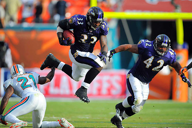 Le'Ron McClain ran for 75 yards and a touchdown on 19 carries in the Ravens' win.
