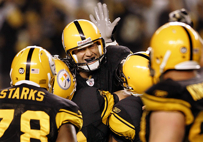 Trailing by 10 points and down to their fourth and final running back, the Steelers staged a big second-half comeback, tying the Ravens late and eventually winning 23-20 on a Jeff Reed field goal in overtime. The grinding defensive slugfest foreshadowed both teams' play for the rest of the season.