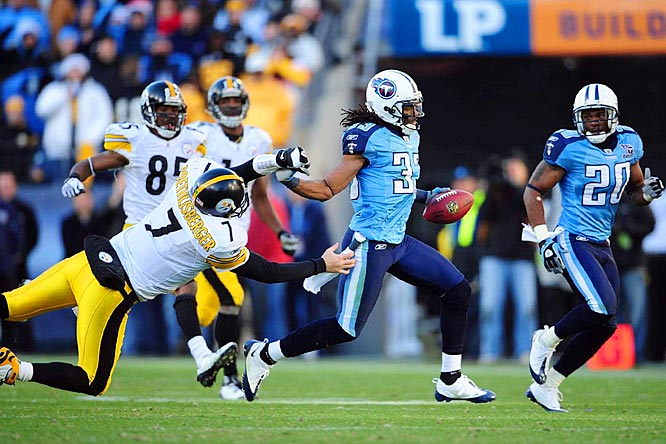 In a battle for the No. 1 seed in the AFC, the Titans dominated the Steelers 31-14. Pittsburgh couldn't stop the Titans' running attack, allowing 117 yards and two touchdowns to the LenDale White and Chris Johnson as the Steelers fell to 1-7 all-time at Tennessee.  Michael Griffin intercepted Roethlisberger twice, including an 83-yard return on Pittsburgh's final drive.
