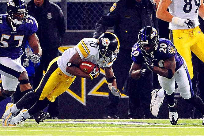 The Steelers rallied from six points down in the fourth quarter to beat the Ravens 13-9. Santonio Holmes caught a disputed four-yard touchdown pass from Roethlisberger with 43 seconds left to put Pittsburgh ahead in the battle of the league's two top defenses.