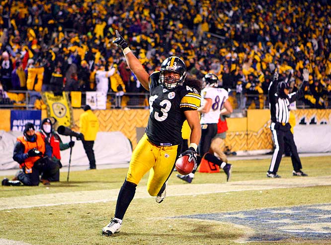 Safety Troy Polamalu's 40-yard interception/TD return with 4:39 left iced the Steelers' 23-14 victory over the Ravens and clinched the club's seventh Super Bowl berth.